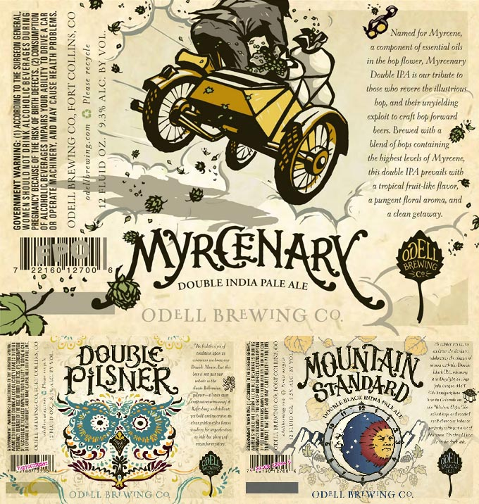 Myrcenary, Double Pilsner and Mountain Standard Labels